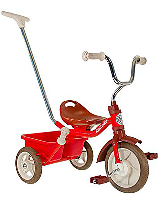 Italtrike Classic Line Passenger, Tricycle with Trainer Handle + Hand Brake, Red Bycicles