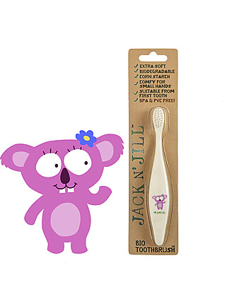 Jack 'n Jill Toothbrush for Kids, Koala - Biodegradable Handle Toothpaste and Toothbrush