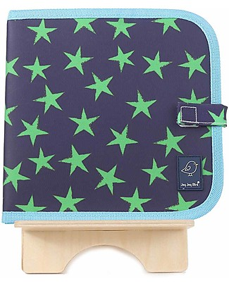 Jaq Jaq Bird Chalk-A-Doodle Book - Blue and Green Stars Travel Games