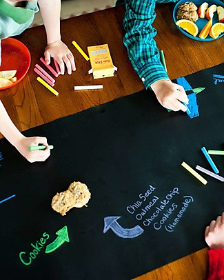 Jaq Jaq Bird Chalk Board Table Runner with Dust-free Chalks and Magnetic Chalk Holder - Black - Perfect for Parties Creative Toys