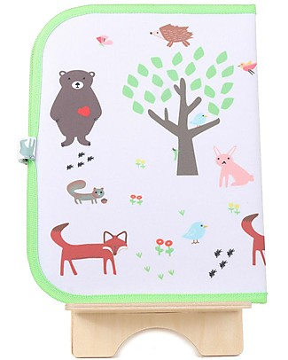 "Jaq Jaq Bird Doodle Mat 2in1 ""Draw and Eat"", Forest - Includes 4 Butterstix Meal Sets"