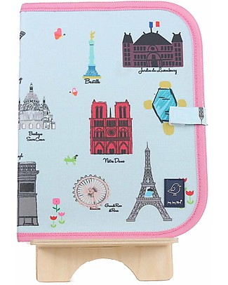 "Jaq Jaq Bird Doodle Mat 2in1 ""Draw and Eat"", Paris - Includes 4 Butterstix Meal Sets"