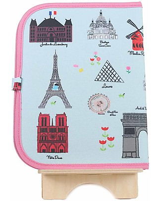 """Jaq Jaq Bird Doodle Mat 2in1 """"Draw and Eat"""", Paris - Includes 4 Butterstix Meal Sets"""