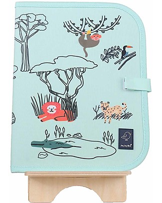 "Jaq Jaq Bird Doodle Mat 2in1 ""Draw and Eat"", Safari - Includes 4 Butterstix Meal Sets"