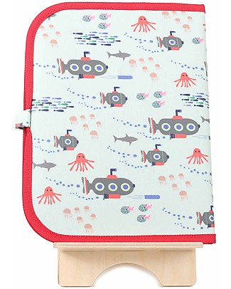 "Jaq Jaq Bird Doodle Mat 2in1 ""Draw and Eat"", Submarine - Includes 4 Butterstix Colouring Activities"