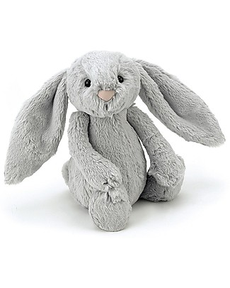 JellyCat Bashful Bunny Soft Toy, Silver (Small) - 18 cm - Cute and funny null