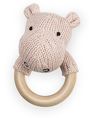 Jollein 2-in-1 Rattle Toy and Teething Ring Hippo, Creamy Peach Teethers