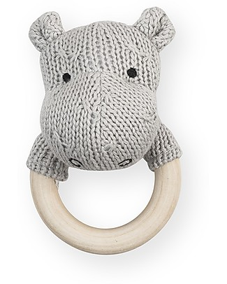 Jollein 2-in-1 Rattle Toy and Teething Ring Hippo, Light Grey Teethers