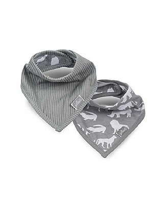 Jollein 2 pack Safari Bandana Bib, Stone Grey Waterproof Bibs
