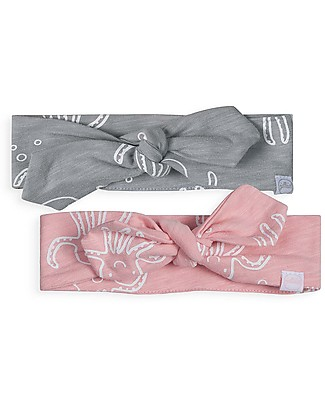Jollein Baby Headband Octopus, Pack of 2 (Pink/Grey) - 100% organic cotton Hair Accessories