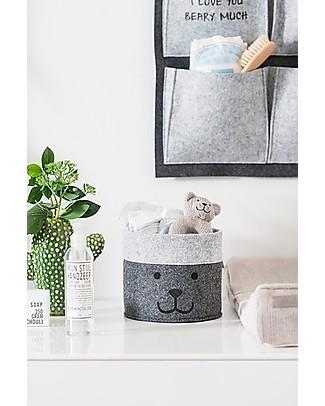 Jollein Basket, Bear Grey - Felt Toy Storage Boxes