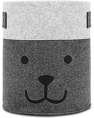 Jollein Basket XL, Bear Grey - Felt - Large! Toy Storage Boxes