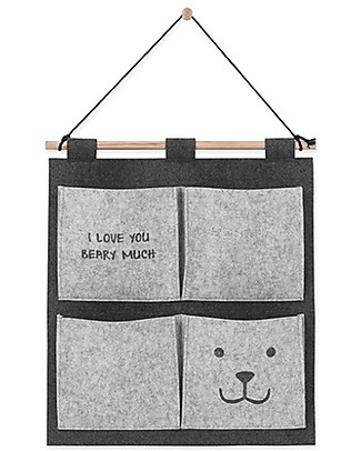 Jollein Bear Wall Organizer, Felt  - Grey - 50x47 cm Toy Storage Boxes