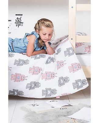 Jollein Bedding Set Duvet Cover and Pillowcase Robot, Pink - 120x150 cm - 100% cotton Duvet Sets