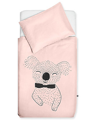 Jollein Bedding Set Duvet Cover and Pillowcase Wild Animals, Creamy Peach - 140x200 cm - 100% cotton Duvet Sets