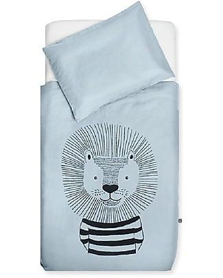 Jollein Bedding Set Duvet Cover and Pillowcase Wild Animals, Soft Blue - 120x150 cm - 100% cotton Duvet Sets