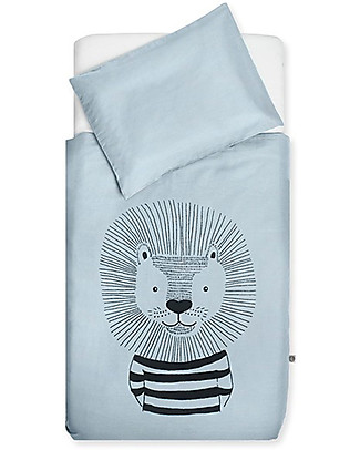 Jollein Bedding Set Duvet Cover and Pillowcase Wild Animals, Soft Blue - 140x200 cm - 100% cotton Duvet Sets
