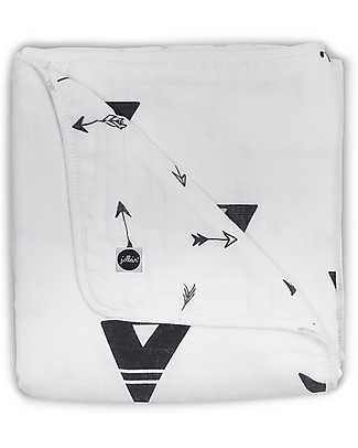 Jollein Black and White Blanket, Indians - 100% Muslin Cotton - 75x100 cm Blankets