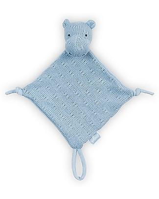 Jollein Blankie Soft Knit Hippo -17x17 cm- Blue Soft Toys
