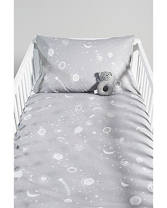 Jollein Cot Duvet Cover and Pillowcase Set Galaxy, Grey - 100x140 cm - 100% cotton Duvet Sets
