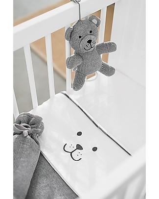 Jollein Cot Sheet Bear, Anthracite - 75x100 cm - Cotton Bed Sheets