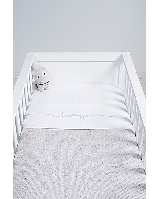 Jollein Cot Sheet Love You, Stone Green - 75x100 cm - 100% cotton Bed Sheets