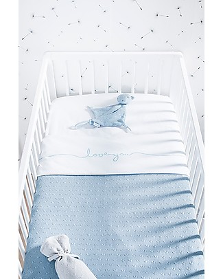 Jollein Cot Sheet Love You, Vintage Soft Blue - 75x100 cm - 100% cotton Bed Sheets