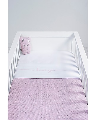 Jollein Cot Sheet Love You, Vintage Soft Pink - 120x150 cm - 100% cotton Bed Sheets