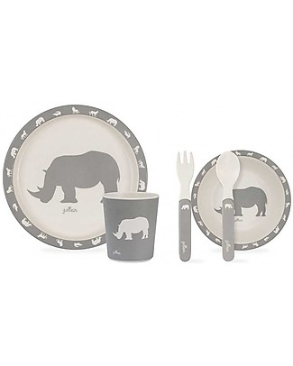 Jollein Dinner Set Safari, Stone Grey - 100% Melamine! Meal Sets