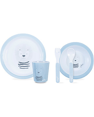 Jollein Dinner Set Wild Animals, Soft Blue - 100% Melamine! Meal Sets