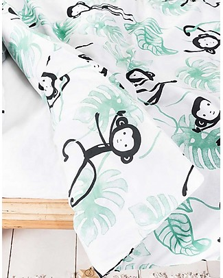 Jollein Duvet Cover and Pillowcase Set, Monkey Island - 140x200 cm - 100% cotton Duvet Sets
