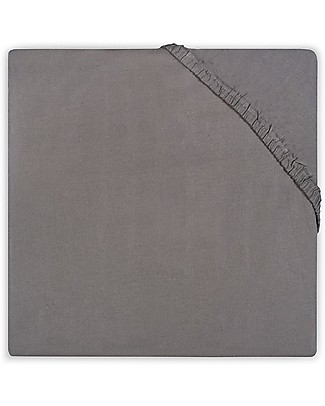 Jollein Fitted Sheet, Anthracite - 40x80 cm - Cotton Jersey Bed Sheets