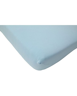 Jollein Fitted Sheet, Light Blue - 40x80 cm - Cotton Jersey Bed Sheets