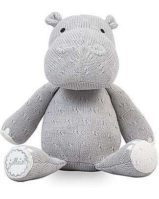 Jollein Knitted Soft Toy Hippo, Light Grey - Super soft and safe for newborns Crochet Soft Toys