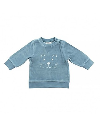 Jollein Little Lion Sweater Velour, Teal - Organic Cotton Sweatshirts