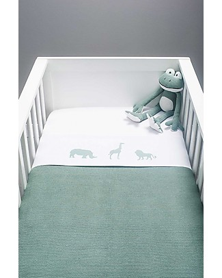 Jollein Safari Sheet, Forest Green - 120x150 cm - 100% cotton Bed Sheets