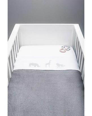 Jollein Safari Sheet, Stone Grey - 120x150 cm - 100% cotton Bed Sheets