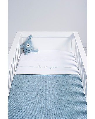 Jollein Sheet Love You, White and Vintage Soft Blue - 120x150 cm - 100% cotone Bed Sheets
