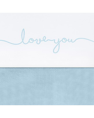 Jollein Sheet Love You, White and Vintage Soft Blue - 120x150 cm - 100% cotone null