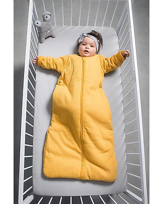 Jollein Sleeping Bag 4-seasons with Removable Sleeves, Rib Ocher Yellow - 90 cm Warm Sleeping Bags