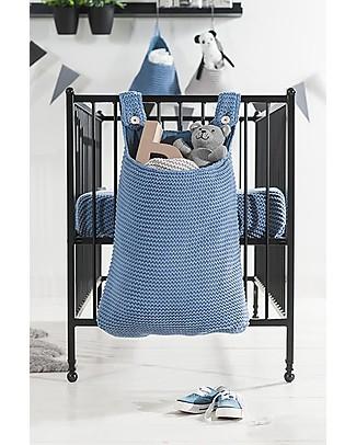 Jollein Storage Bag for Crib, Heavy knit  - Blue - 50x40 cm Toy Storage Boxes