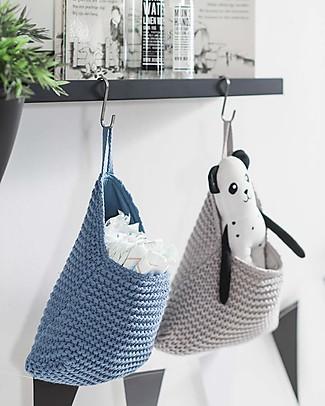 Jollein Wall Storage Bag, Heavy Knit - Light Grey - 27x20 cm Toy Storage Boxes