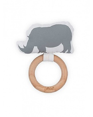 Jollein Wooden Teething Ring with Cotton Decoration Safari, Rhino Grey Teethers