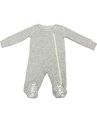 Juddlies Designs Breathe-Eze Babygrow with Non-Slip Feet, Grey - 100% cotton, breathing and warm Babygrows