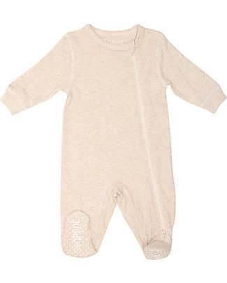 Juddlies Designs Breathe-Eze Babygrow with Non-Slip Feet, Oatmeal - 100% cotton, breathing and warm Babygrows