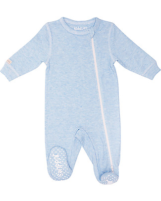 Juddlies Designs Breathe-Eze Babygrow with Non-Slip Feet, Pale Blue - 100% cotton, breathing and warm Babygrows