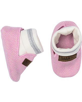 Juddlies Designs Cottage Collection Baby Shoes, Sunset Pink - 100% Organic Cotton Shoes