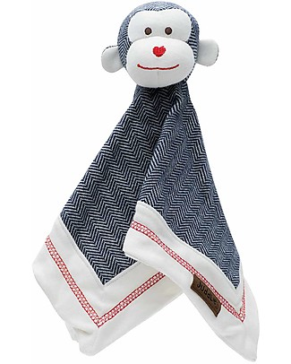 Juddlies Designs Cottage Collection, Lake Blue Monkey - 10% Organic Cotton Blankets