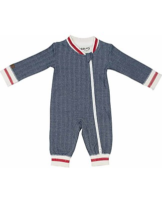 Juddlies Designs Cottage Playsuit, Lake Blue - 100% Organic Cotton Pyjamas