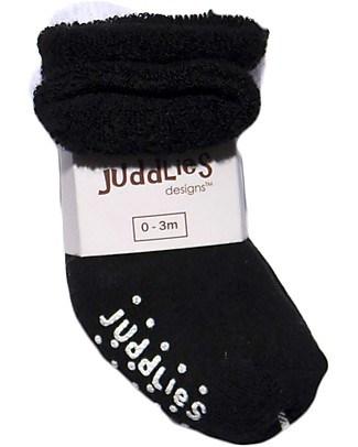 Juddlies Designs Non-skid Baby Sock, Set of 2 Pairs, White/Black Socks